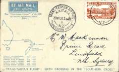 "(New Zealand) Sixth Trans Tasman crossing of VH-USU Southern Cross, Kaita to Sydney, no arrival ds, bluecream souvenir cover with map and list of crossings, franked 3d & 4d airs canc Kaita cds, violet circular Trans Tasman souvenir flight cachet. Signed by Charles KIngsford Smith and typed ""Carried personally by Sir Charles KIngsford Smith across the Tasman on March 29th 1943"". Nice item in fine condition."