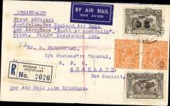 """(Australia) First official airmail between Australia and New Zealand, Brisbane to Auckland, bs 12/4, registered (label) cover franked 1/1d inc SG 139 and 139a (cat £67 used), canc Brisbane 27/3, via Sydney 28/3, fine strike violet framed special flight cachet verso, typed """"First official  Australia-New Zealand Air Mail/per aeroplane Faith in Australia/pilot Flight Lieutenant Ulm""""."""