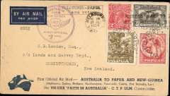 "(Australia) First official airmail between Australia and PNG, Melbourne to Port Moresby, b/s 26/7, and return, flown by Ulm in ""Faith of Australia"", Australia and Papua cachets, franked Australia 8d (inc SG 139) and Papua 8d, latter canc 26/7 for return, Sydney 1/8 arrival ds, official ""boomerang"" cover, circular violet Australia-PNG cachet on front, and hexagonal PNG-Australia cachet verso, multicoloured Victoria Centenary Air Race vignette verso (scarce on cover). Small non invasive closed tear top edge, does not detract, see scan."