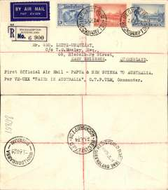 "(Australia) Rockhampton to Brisbane, bs 31/7, scarce cover flown on intermediate leg of PNG-Australia 'Faith in Australia' return flight, registered (label) cover franked 8 1/2d canc Rockhampton cds, typed ""First Official Air Mail Papua& New Guinea to Australia/per Faith in Australia, CTP Ulm, Commander"""