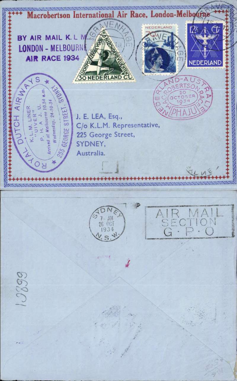 "(Netherlands) Mac Robertson Air Race, Holland to Australia, bs 26/10, also oval double ring KLM commemorative arrival cachet ""Royal Dutch Airways/KLM Liner 'Uiver' arrived at Melbourne 10.54am, Wednesday 24/10/34"", franked 82 1/2c + special triangular stamp, canc Gravenhage 15/10, oval red race cachet, red/blue/pale blue Mac Robertson International Air Race souvenir race cover with decorative border, flown by Parmentier and Moll."