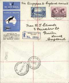"(Australia) Imperial Airways/Qantas., first regular Australia-England service, Mondee Ponds to London, no arrival ds,  registered (label) official blue/pale grey souvenir ""Kangaroo"" cover, franked 1/9d, ms 'Via Singapore to England Air Mail'."