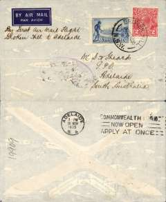 "(Australia) Adelaide Airways Ltd, F/F Broken Hill to Adelaide, bs 26/11, imprint airmail etiquette cover franked 5d, ms ""By First Air Mail Flight/Broken Hill to Adelaide"".  Small mail."