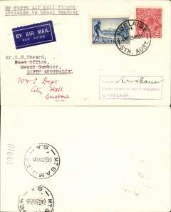 """(Australia) Adelaide Airways Ltd, F/F Adelaide to Mount Gambier, bs 26/11, plain airmail etiquette cover franked 5d, typed """"By First Air Mail Flight/Adelaide to Mount Gambier"""". Small mail."""