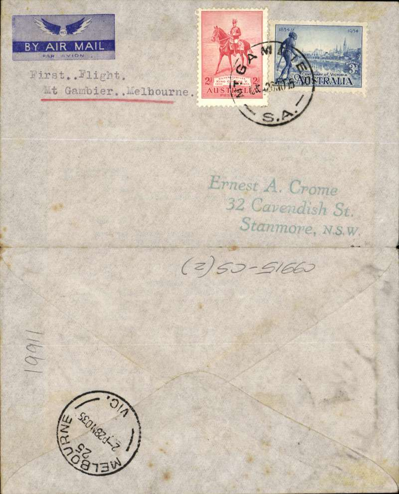 """(Australia) Adelaide Airways Ltd, F/F Mount Gambier to Melbourne, bs 28/11, imprint etiquette airmail cover franked 5d, typed """"First Flight/Mount Gambier to Melbourne"""". Small mail."""