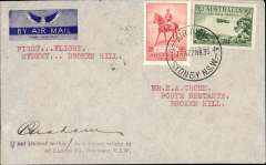 (Australia) WASP Airlines, F/F Sydney Hill to Broken Hill, bs 27/3, imprint airmail etiquette cover franked 5d, typed 'First Flight/Sydney Hill to Broken Hill', signed by the pilot P. Graham.