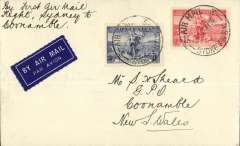 "(Australia) WASP Airlines Ltd, F/F Sydney to Coonamble, bs 28/5, inaugural introduction of Coonamble into the Broken Hill-Sydney service, plain airmail etiquette cover franked 5d, ms ""By First Air Mail Flight/ Sydney to Coonamble"". Not easy to find."