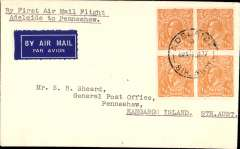 (Australia) Australian National Airways Ltd, first official airmail between Adelaide and Penneshaw, Kangaroo Island, bs  1/1, and also the first Australian airmail flown without air fee surcharge of 3d, airmail etiquette cover franked 2d. Very small mail.