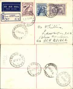 (Australia) WR Carpenter Airlines, first official flight Australia-New Guinea-Australia, Sydney to Rabaul, bs 1/6, and return, bs Sydney 5/6, registered (label) airmail etiquette cover franked 6d KS and 3d stamps, and 9d Papua stamps canc Rabaul 3/6 cds