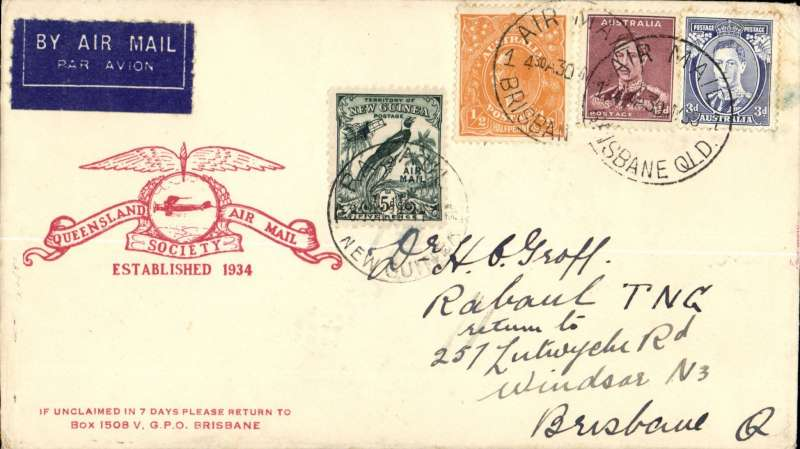 (Australia) WR Carpenter Airlines, first official flight Australia-New Guinea-Australia, Brisbane to Rabaul, bs 1/6, and return, bs Brisbane 5/6 cds, attractive red/cream Queensland Air Mail Society logo souvenir cover franked 4 1/2d Australia stamps, canc Brisbane 30/5 cds, and 5d New Guinea stamp canc Rabaul cds