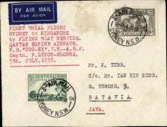 "(Australia) First 'all the way airmail' Australia to England, Sydney to Java leg, bs Batavia 8/8 cds, carried by Qantas flying boat 'Cooee', plain cover franked 3d air + Kingsford Smith 6d, canc Sydney cds, typed 'First Trial Flight/Sydney to Singapore/by Flying Boat Service/Qantas Empire Airways/F.B. ""Cooee"" V.H. -A.B.F./Captn. Lynch-Bloss/5th July 1938'. Scarce item in superb condition."