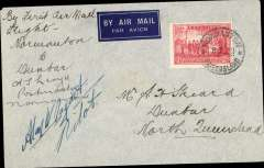 (Australia) North Queensland Airways Pty Ltd, F/F to Queensland cattle stations, Normanton to Dunbar, no arrival stamp as there were no post offices at these stations, imprint etiquette airmail cover franked 2d, canc Normanton cds, signed by the pilot Alan W. Tagart, and the postmaster at Normanton, A.L.Lloyd.