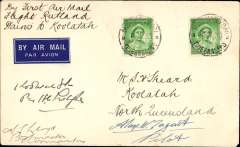 (Australia) North Queensland Airways Pty Ltd, F/F to Queensland cattle stations, Normanton to Koolatah, no arrival stamp as there were no post offices at these stations, airmail etiquette cover franked 2d, canc Normanton cds, signed by the pilot Alan W. Tagart, and the postmaster at Normanton, A.L.Lloyd.