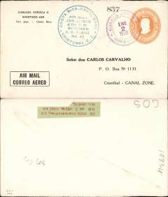 "(Costa Rica) Courier flight, US Army planes, San Jose to Cristobal, circular arrival dated cachet on front ""Costa Rica-Canal Zone/Air Mail/Jan 2, 1926/………../Received/AS Plane #41"", printed Noriega ""Correo Aereo"" corner cover."