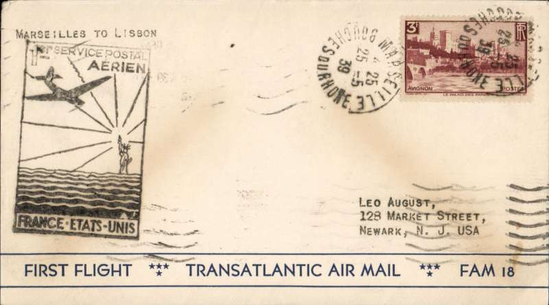 (France) Pan Am F/F Marseilles to Lisbon, bs 25/5 via Marseiilles 25/5, scarce BLACK cachet, attractive air cover franked 3F.