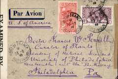 """(Martinique) World War II double censored airmail cover, Fort de France to Philadelphia, USA, franked 8f, rh sealed brown censor tape tied by pointed oval """"Ouvert Par l'Autorite Militaire"""" censor mark, and lh sealed by B&W US EB 4192 (Miami) censor tape, also 'Censore Militaire/2/Martinique' toothed circle censor mark verso."""