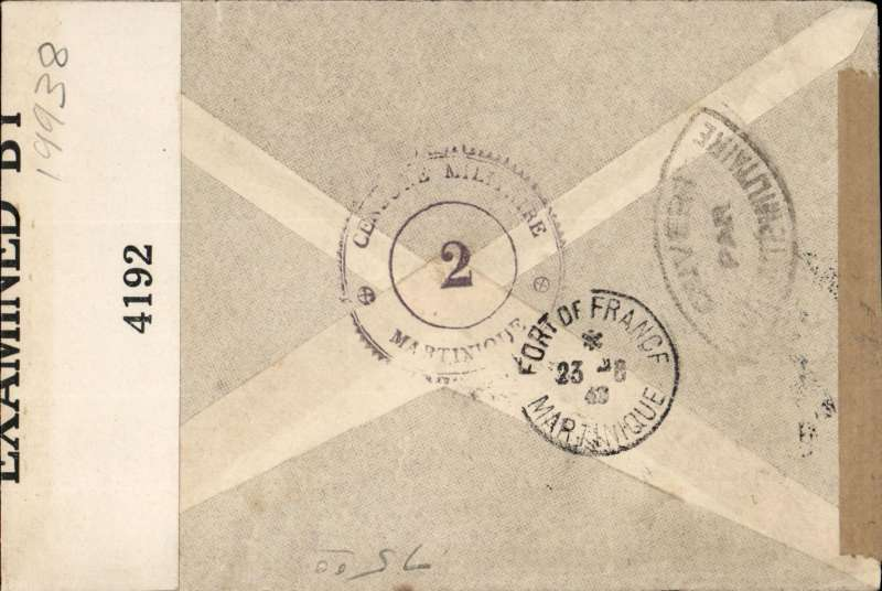 "(Martinique) World War II double censored airmail cover, Fort de France to Philadelphia, USA, franked 8f, rh sealed brown censor tape tied by pointed oval ""Ouvert Par l'Autorite Militaire"" censor mark, and lh sealed by B&W US EB 4192 (Miami) censor tape, also 'Censore Militaire/2/Martinique' toothed circle censor mark verso."