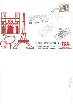 (Portugal) TAP, B 747B F/F Lisbon to Paris,  souvenir cover, cachet.