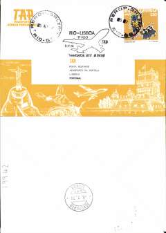 (Brazil) TAP, B 747B F/F Rio de Janero to Lisbon, b/s, souvenir cover, cachet.