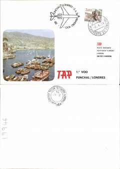 (Portugal) TAP, F/F Funchal (Madeira) to London, b/s, souvenir cover, cachet.