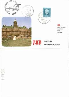 (Netherlands) TAP,  F/F Amsterdam to Faro, b/s, souvenir cover, cachet.