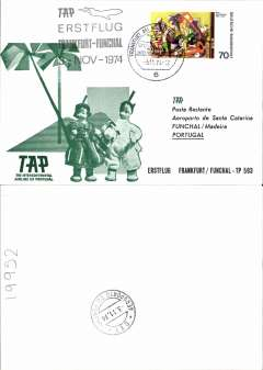 (Germany) TAP,  F/F Frankfurt to Funchal, Madeira b/s, souvenir cover, cachet.