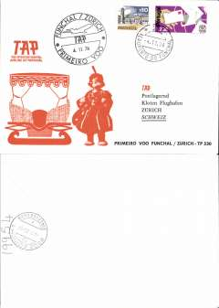 (Portugal) TAP,  F/F Funchal (Madeira) to Zurich, b/s, souvenir cover, cachet.