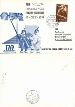 (Portugal) TAP,  F/F Funchal (Madeira) to Dusseldorf, b/s, souvenir cover, cachet.