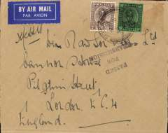"(Malaya) WWII airmail cover to England, no arrival ds, franked 55c, black three line ""Passed/For/Transmission"" censor mark, verso uncommon 1c Malaya Patriotic Fund ""He Will Thank You"" vignette. 55c is the correct rate for carriage by BOAC to London."
