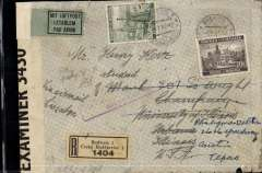 "(Czechoslovakia) WWII dual censored trans Atlantic registered (label) airmail cover, Budweis to Texas, USA, bs 7/2, via Frankfurt,  New York 13/1, airmail etiquette cover franked 22K, partial strike violet framed ""Mit Luftpost nach Nor Amerika und ab New York"" cachet, ms 'Via Airmail .. Lissabon',  purple on brown OKW censor tape tied by German winged eagle censor mark, also sealed by B&W OBE 3430 British Caribbean censor. Carried DLH, then Pan Am Southern route via Lisbon to New York."