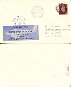 (GB Internal) F/F, Bradford to London, company vignette tied by 12.50pm clock receiver, also violet circ company cachet, plain cover, North Eastern Airways.