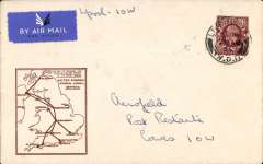 (GB Internal) F/F Railway Air Service Inland Airmail Service, Liverpool to Cowes, bs 21/8, plain airmail etiquette cover, magenta framed 'map' cachet.
