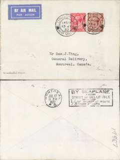 "(GB External) Imperial Airways service for the Ottawa Conference, franked 2 1/2d, London to Montreal, bs 17/7, carried by from London to Cherbourg by Imperial Airways plane ""Wesser"", Cherbourg to Red Bay by ""Empress of Britain"", Red bay to Havre by hydravion ""Bellanca"", Havre to Rimouski by hydravion ""Flying Boat"" and, finally, Rimouski to Ottawa by Fairchild plane. Reduces normal sea voyage time by 1/3rd.  See Newall 32.17."