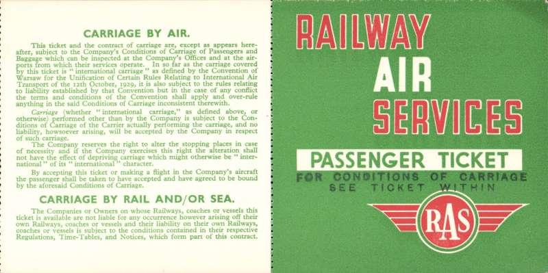 (Ephemera) Railway Air Services passenger ticket, red/gree/white, specimen.