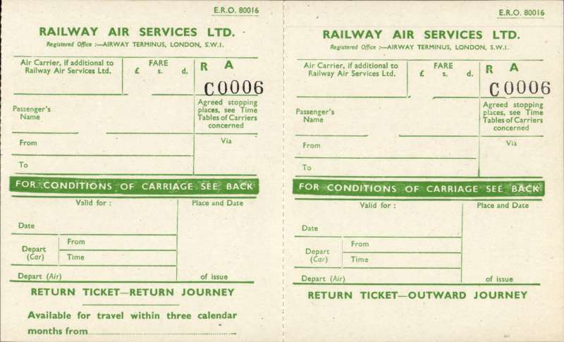 (Ephemera) Railway ASir Services outward and return journey tickets with detailed conditions by air, rail, road or sea verson, unused. Interesting.