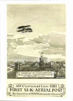 (Ephemera) The First United Kingdom Aerial POst, B&W PC illustrating the original artwork by William W.Lendon or the special cards issued for the 1911 Coronation Aerial Post.