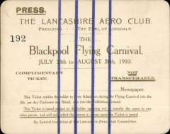 (Ephemera) The Second Blackpool Aviation Meeting 1910.  Personal Press card Number 192 issued by the Lancashire Aero Club for its Flying Carnival held from the 28th July to the 20th August 1910. Very fine.