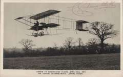 (Ephemera) Mr Claude Grahame-White leaving Rugby on a London to Manchester flight during the Blackpool Aviation Meeting 1910, unused B&W PPC with a facsimile signature of the pilot on the front.