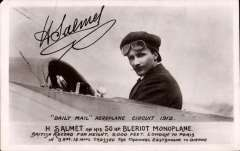 (Ephemera) Henri  Salmet in his Bleriot Monoplane at the Daily Mail circuit of Britain Meeting 1912, unused B&W PPC with facsimile signature on the front.