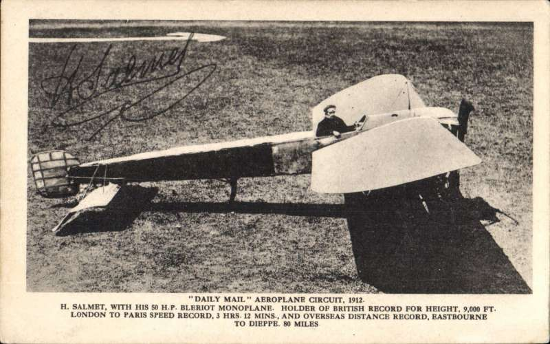 (Ephemera) Henri  Salmet in his by his Bleriot Monoplane at the Daily Mail circuit of Britain Meeting 1912, postally unused B&W PPC with facsimile signature on the front. and message verso.