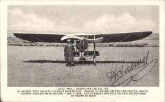 (Ephemera) Henri  Salmet standing by his Bleriot Monoplane at the Daily Mail circuit of Britain Meeting 1912, postally unused B&W PPC with facsimile signature on the front. and message verso.
