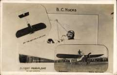 (Ephemera) B.C. Hucks in Bleriot Monoplane, and in his aircraft looping the loop. An original unused sepia PPC. Following his demonstration flights in the north of England early in 1913, he carried out the series of flights advertising the product of the Robert Sinclair Tobacco Company Ltd and, subsequently trained purposefully to fly upside-down. His career ended when he was killed in the First World War.