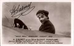 (Ephemera) Henri Salmet in the cockpit of his Bleriot monoplane taken during the Daily Mail Circuit of Britain 1912, postally used B&W PPC bearing a facsimile signature of the pilot on front, and message verso.