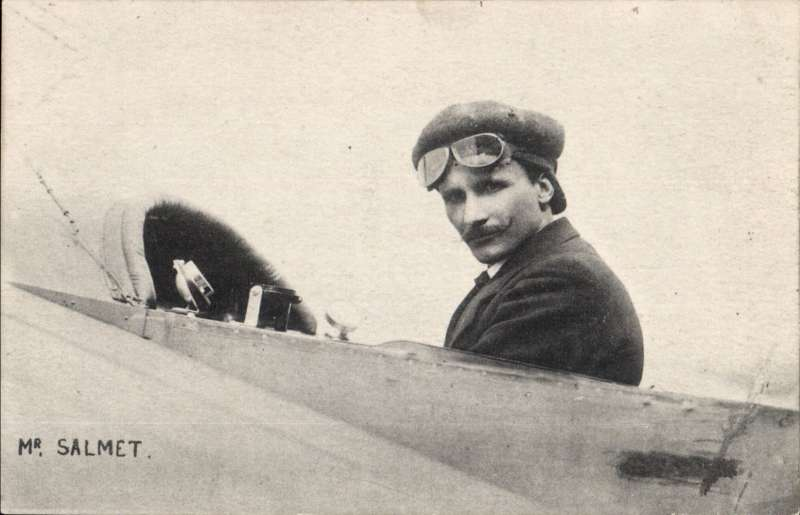 (Ephemera) Henri Salmet in the cockpit of his Bleriot monoplane taken during the Daily Mail Circuit of Britain 1912, original unused B&W photocard.