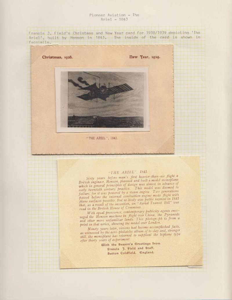 (Ephemera) Pioneer Aviation, Francis J Field's Christmas and New Year card for 1938/1939 depicting 'The Aerial', built by Henson in 1843. The inside of the card is shown in facsimile.