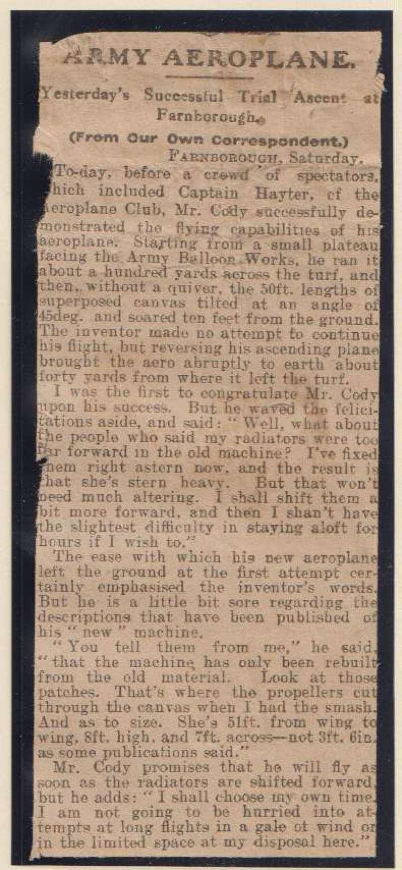 (Ephemera) Samuel Cody's successful trial ascent at Farnborough, original newspaper cutting from the Weekly Dispatch dated January 3 1909.