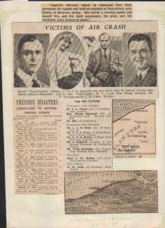 """(Ephemera) Original press cutting, c300 words, illus, and map, mounted on album leaf, Dec 30, 1933, source unknown, detailing crash of IAW """"Apollo"""" at Ruysselede, Belgium, inc list of previous casualties to British owned liners."""