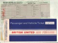 (Ephemera) British United Air Ferries blank specimen passenger and vehicle ticket (First issue), complete all coupons, 1960