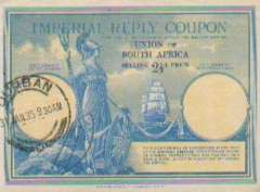 (Ephemera) Imperial Reply Coupon, Union of South Africa, selling price 2 1/2d pence, canc. Durban 31 Jan 1935, scarce