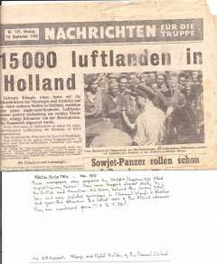 (Ephemera) Word War II propaganda  newspaper, Nachrichten No 155, Sept 18th, 1944, giving news of Allied advances, prepared  by HQ Allied Expeditionary Forces and dropped behind enemy lines and over isolated garrisons, 4pp.